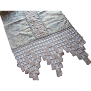 Cottage Style Piano Scarf or Mantle Piece in Blue Gray Floral Fabric and Profuse Crochet Edges