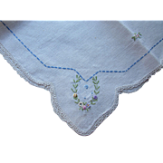 Cottage Style Embroidered Runner or Scarf Satin Stitch and French Knot Flowers with Lace Trim