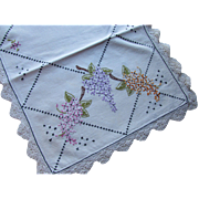 Cottage Style Embroidered Table Runner or Dresser Scarf with Pink and Purple Lilacs