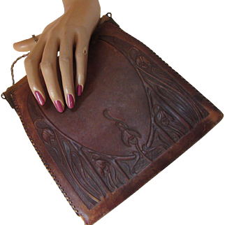 Early 20th Century Tooled Leather Handbag Nouveau Design