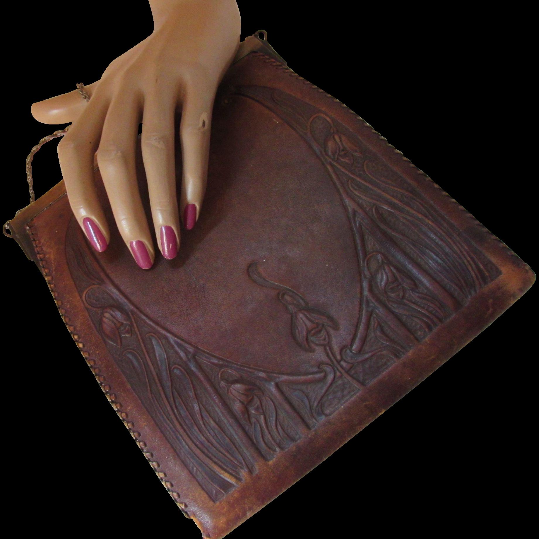 Early 20th Century Tooled Leather Handbag Nouveau Design