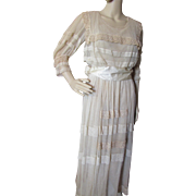 1920 Style Net Summer Dress in Tea Stain Tone with Lace Inserts and Satin Sash Betty Vale