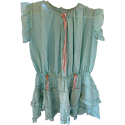 1920 1930 Girls Dress in Turquoise and Pink Tissue Crepe