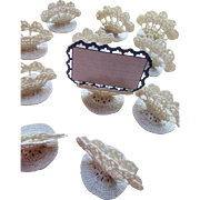 Cottage Style Crochet Place Cards in Cream Tone Hand Made