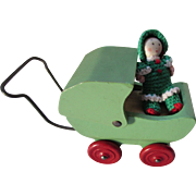 Dollhouse Size Wood Buggy with Crochet Doll Reds and Greens