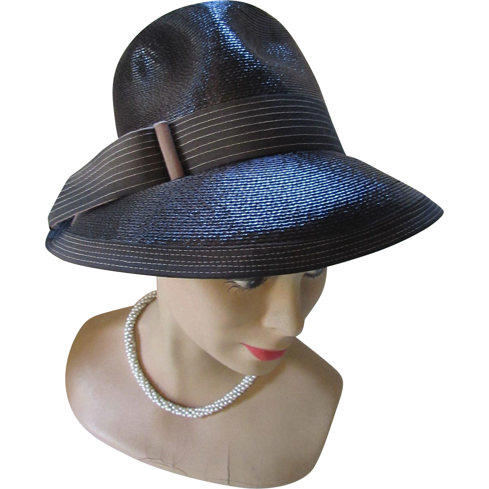 Black Hat High Top Hat with Latte Ribbon Mod Style 1970 Style Sue Original