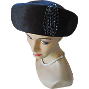 Stylish Black Felt Breton Style Hat with Beaded Tassel Made in Italy Styled by Sue