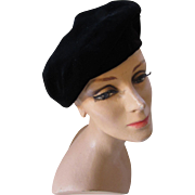 Black Velvet Beret an Authorized Gilbert Orcel Reproduction Purchased at Bramson's Chicago Area