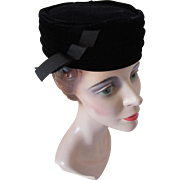 Sophisticated Black Velvet Pill Box Hat with Ribbon Tab Norman Paulvin