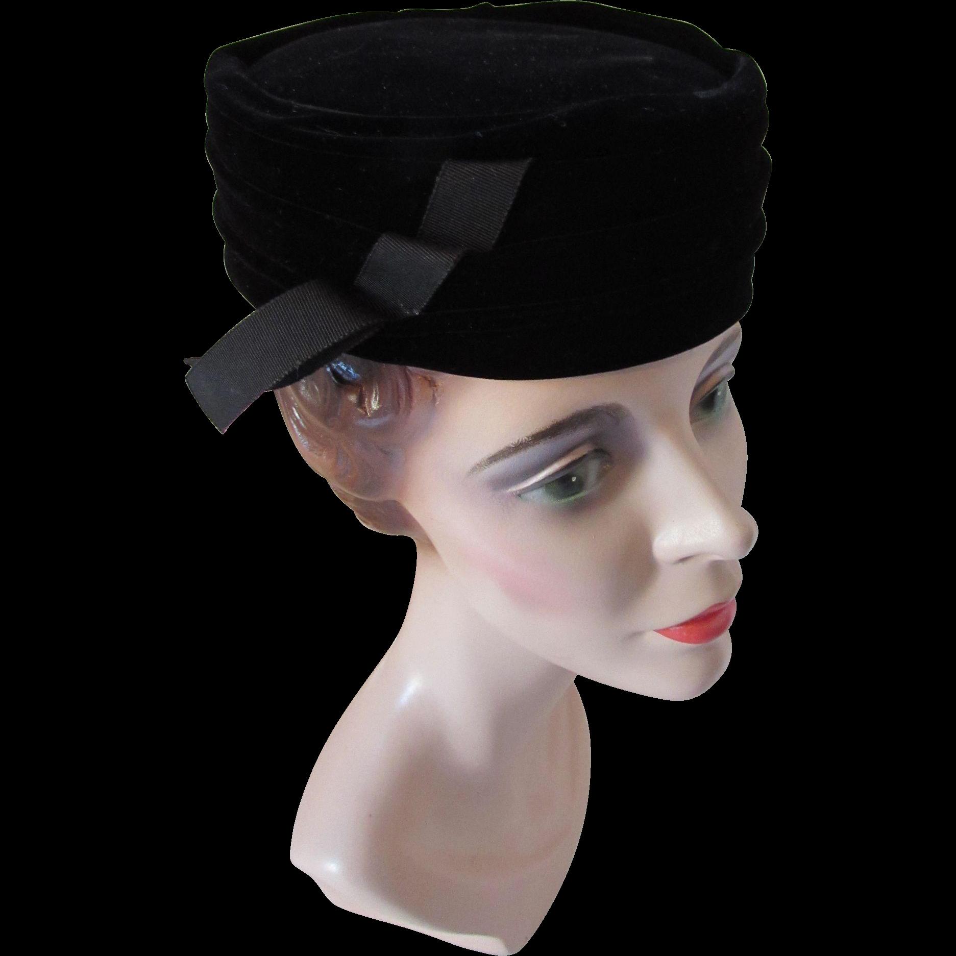 Sophisticated Black Velvet Pill Box Hat with Ribbon Tab Norman Paulvin