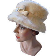 Winter White Fur Lampshade Style Hat Mid Century Styled by Sue