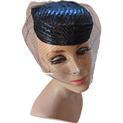 Black Woven Little Topper Oval Shaped Pill Box with Veil