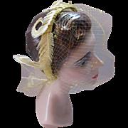Headband Style Vintage Hat in Mustard Yellow Feathers