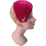 Fuchsia Feather Half Hat with Chandelier Style Decorative Pin For Evening Wear