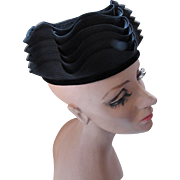 Black Topper Hat in Ruffled Waves of Black Straw by Bramson Chicago and Palm Beach