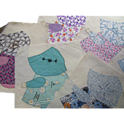Vintage Sunbonnet Sue Quilt Blocks 26 Hand Sewn in Multiple '30's-'50's Prints