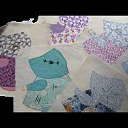 Vintage Sunbonnet Sue Quilt Blocks 26 Hand Sewn in Multiple '30's-'50's Prints