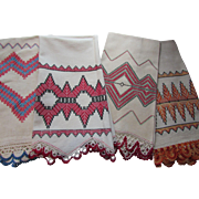 Cottage Style Embroidered Cross Stitch Kitchen Towels with Crochet Trim