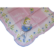 Little Girl Hankie Handkerchief Blonde Ballerina with Blue Tutu on Pink Background Watch Me Dance