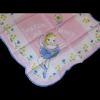 Little Girl Hankie Handkerchief Blonde Ballerina with Blue Tutu on Pink Background Watch Me Dance