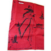 Lipstick Red Vintage Handkerchief with black Graphics Silhouette Fashionable Lady and  Landmarks of Europe by Maco Triumph of Europe