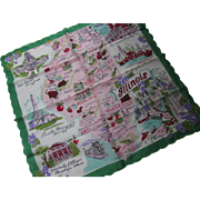 Vintage State of Illinois Map Handkerchief with Big and Little Towns and Landmarks Including Urban Municipal Recreation Pier