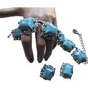 Mid Century Link Necklace and Earrings in Turquoise Tone Plastic and Silver Tone Mount