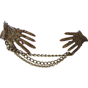 Sweater Guard in Glove Shape Gold Tone Textured Metal and Chain