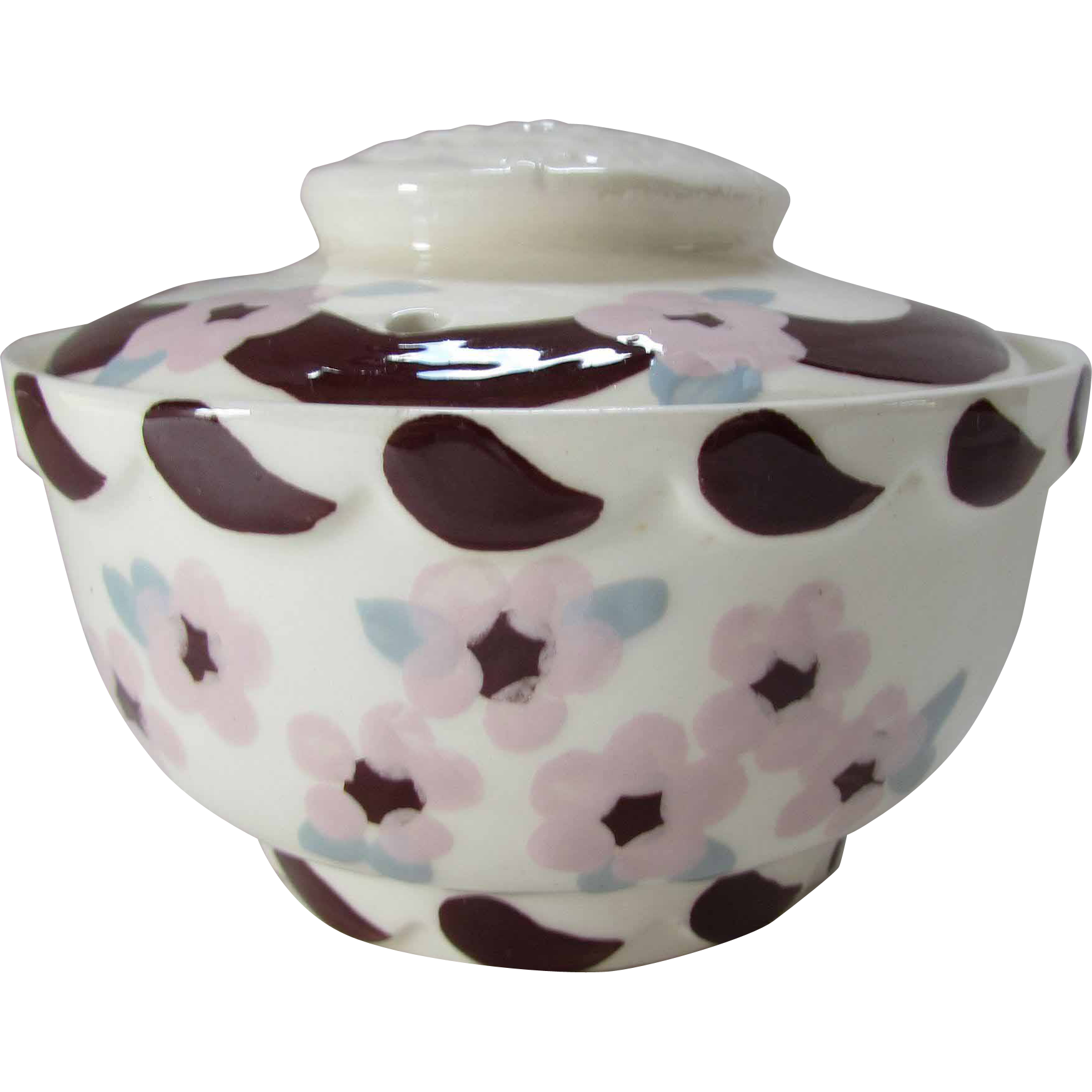 Cleminson Hand Painted Covered Bowl in Brown and Pink