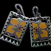 Laurel Burch Hibiscus Earrings in Mustard and Plum Rectangles