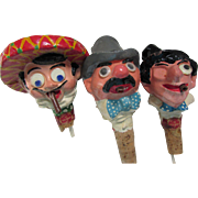 Trio Character Bottle Pourers, Bottle Stoppers in Paper Mache Old Bond