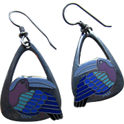 Laurel Burch Toucan Pierced Earrings in Shades of Plum, Turquoise and  Cobalt Triangle Shape