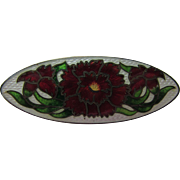 Genuine Cloissione and Sterling Enamel Pin in Red Flower Design