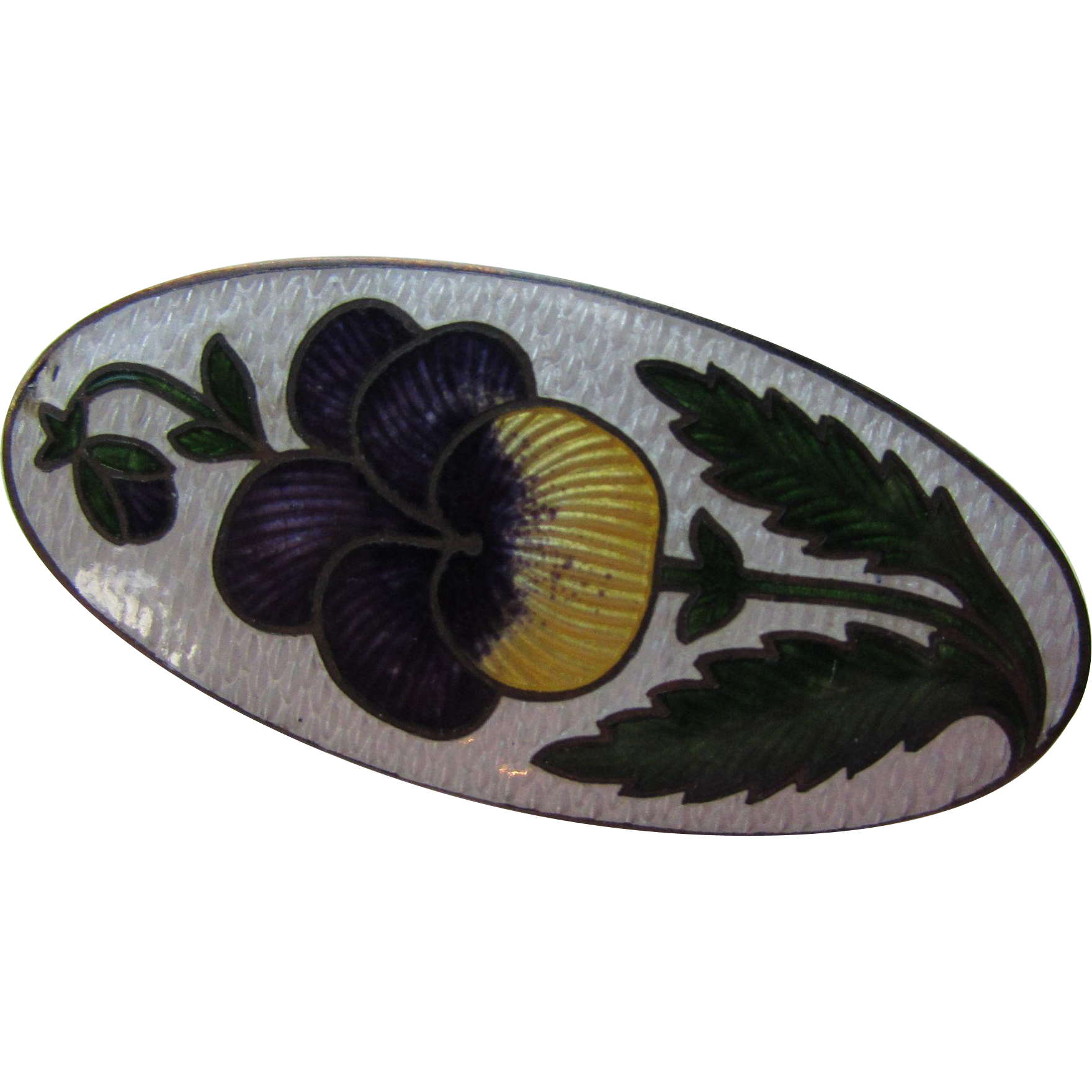 Lovely Enamel Pin with Purple and Yellow Pansy in Oval Shape