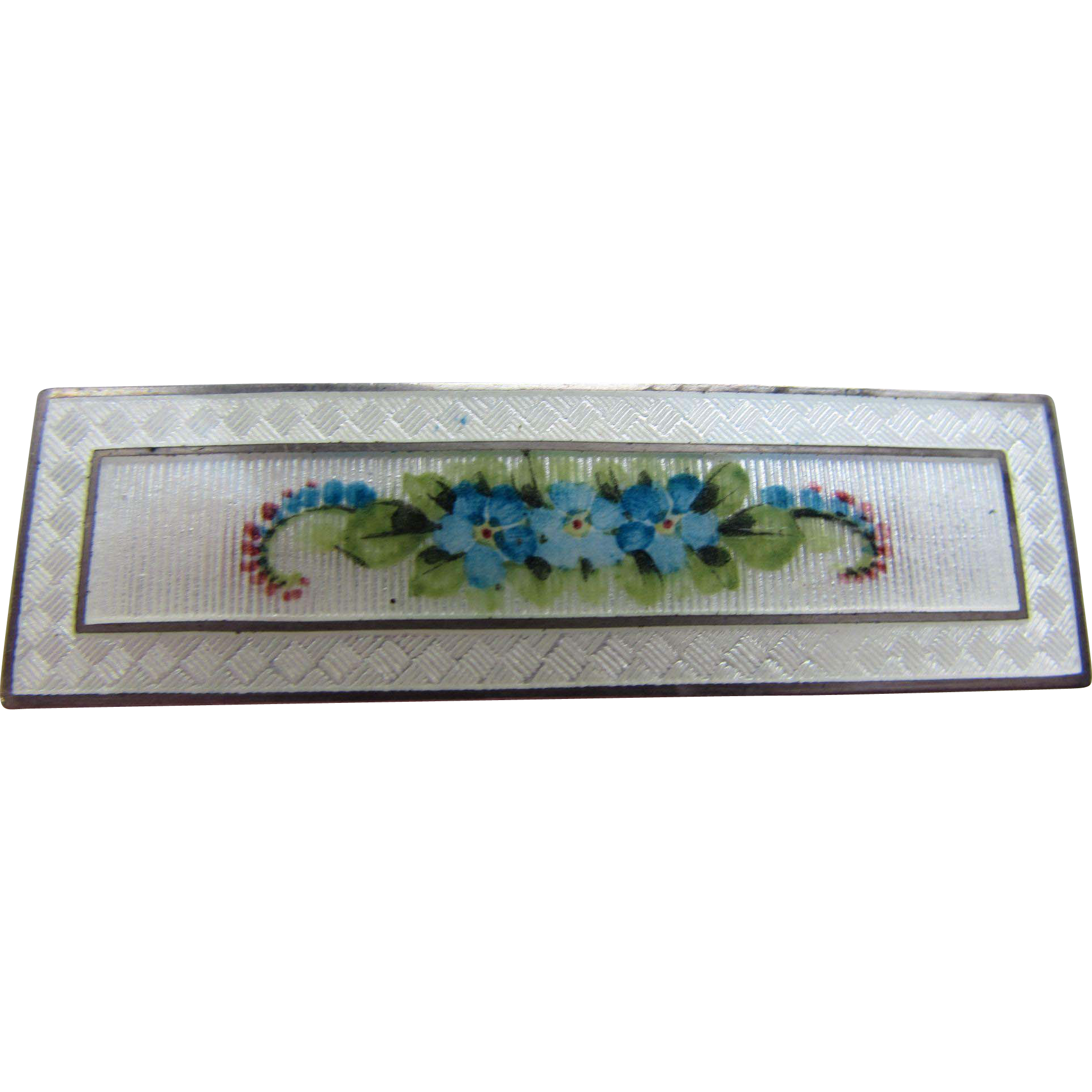 Sterling Enamel Bar Pin Rectangle Shape with Blue Forget Me Not Flowers