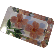 Vintage Lucite Reverse Painted Brooch with Pink Roses