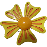Mod Style Flower Pin Citrus Color Enamel in Orange and Yellow