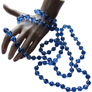Cobalt Blue Opera Length Bead Necklace Full Length Double Strand or Triple Strand