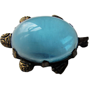 Turtle Brooch with Clear Sky Blue Lucite Jelly Belly Style Body