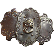 Cameo Face on Shield Shape Belt Buckle in Silver Tone Metal