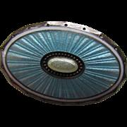 Sterling Oval Brooch in Turquoise Tone Guilloche Enamel  Austria