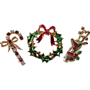 Trio Christmas Brooches Pins Candy Cane, Wreath and Reindeer