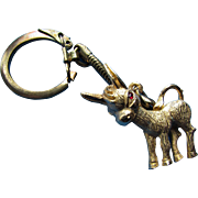 Cute Red Eyed Little Donkey Key Chain in Gold Tone