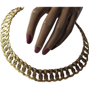 Elegant Woven Open Link Choker Necklace in Gold Tone