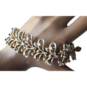 Coro Link Bracelet in White with Gold Tone Open Leaves and Bead Blossoms