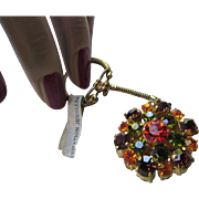 Rhinestone Key Chain in Autumn Colors Double Layers of Persimmon, Kale, and Blood Orange Made in Austria Original Tag