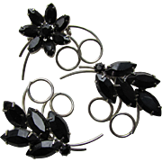 Trio Scatter Pins in Black Faceted Plastic Flowers and Silver Tone Spiral Leaves