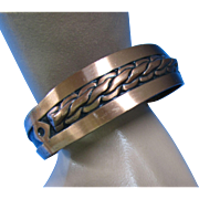 Marked Copper Cuff Bracelet with South West Design Roped Center