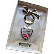 Souvenir  Shedd Aquarium Chicago Locket Gold Plated Rose Hand Painted in Original Box