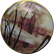 P Buckley Moss  1995 Golden Winter Porcelain Brooch Society Membership Anna Parrena